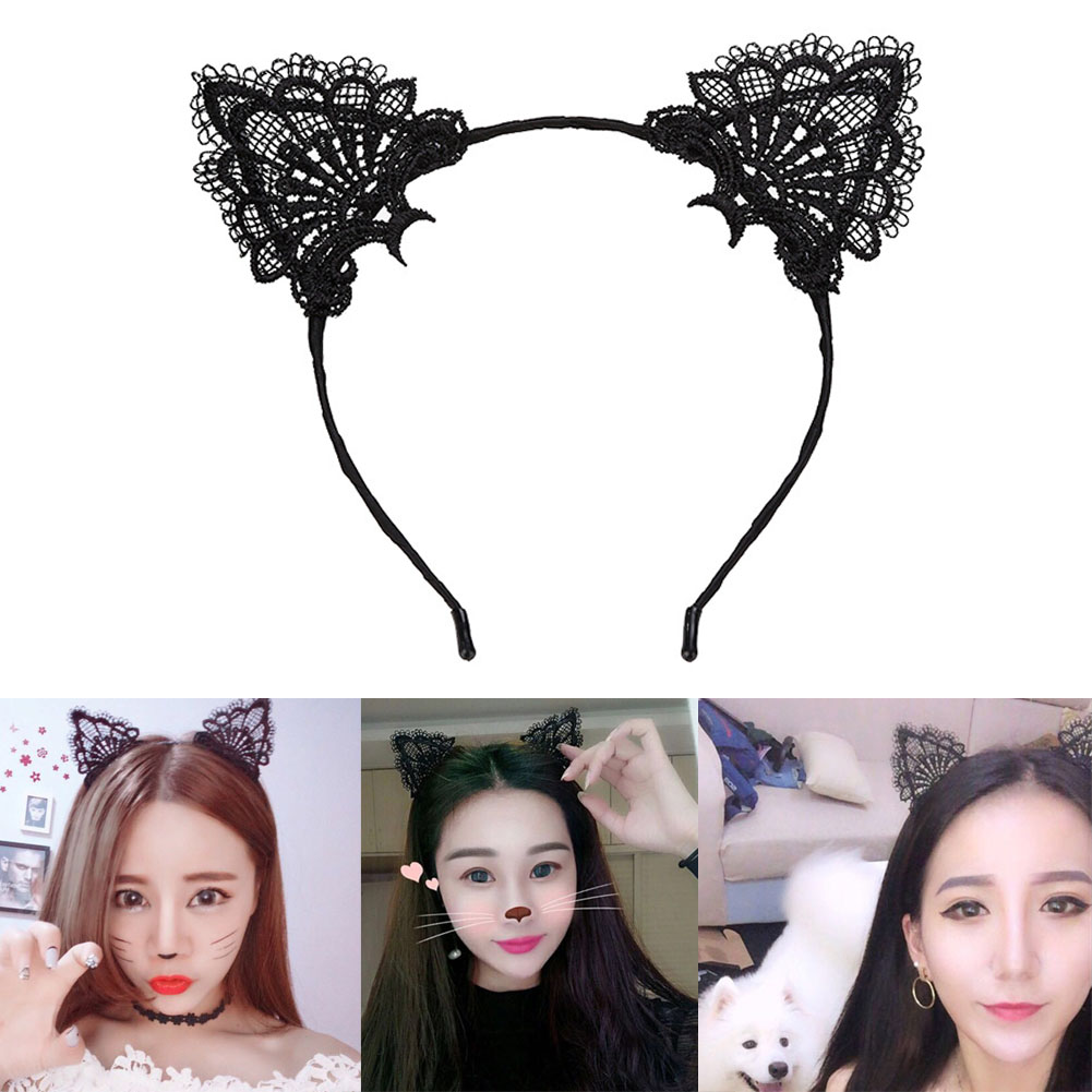 2019 New Hair Bands For Women Kawaii Black Hairband Adorable Lace Kitty Ears Headband Holiday Costume Hair Accessories