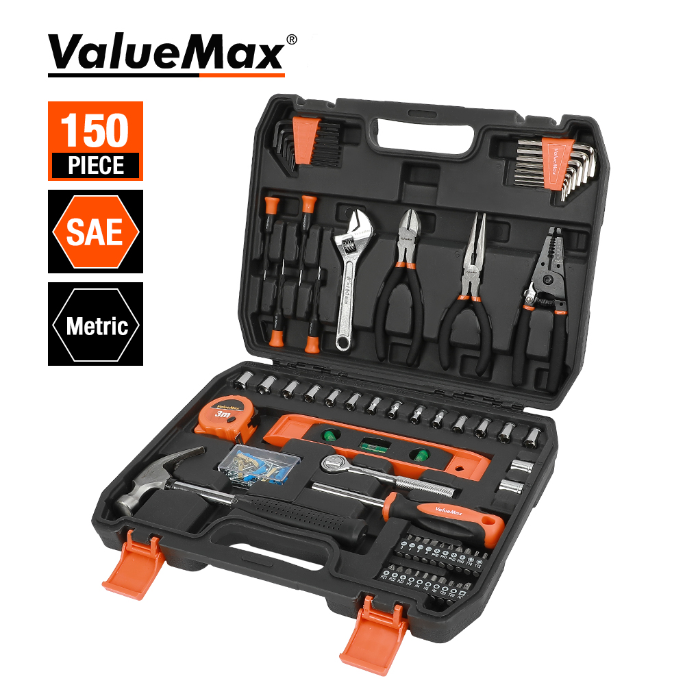 ValueMax 150PC Home Tool Set  for Home Repair Tool Set Household Tool Kits With Screwdrivers Pliers Hammer Utility Knife Box
