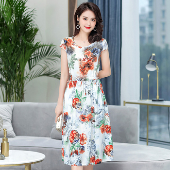 Summer Vestidos 2020 Women Vintage Dress Short Sleeve O-neck Womens Elegant Printing  Casual Dresses Female