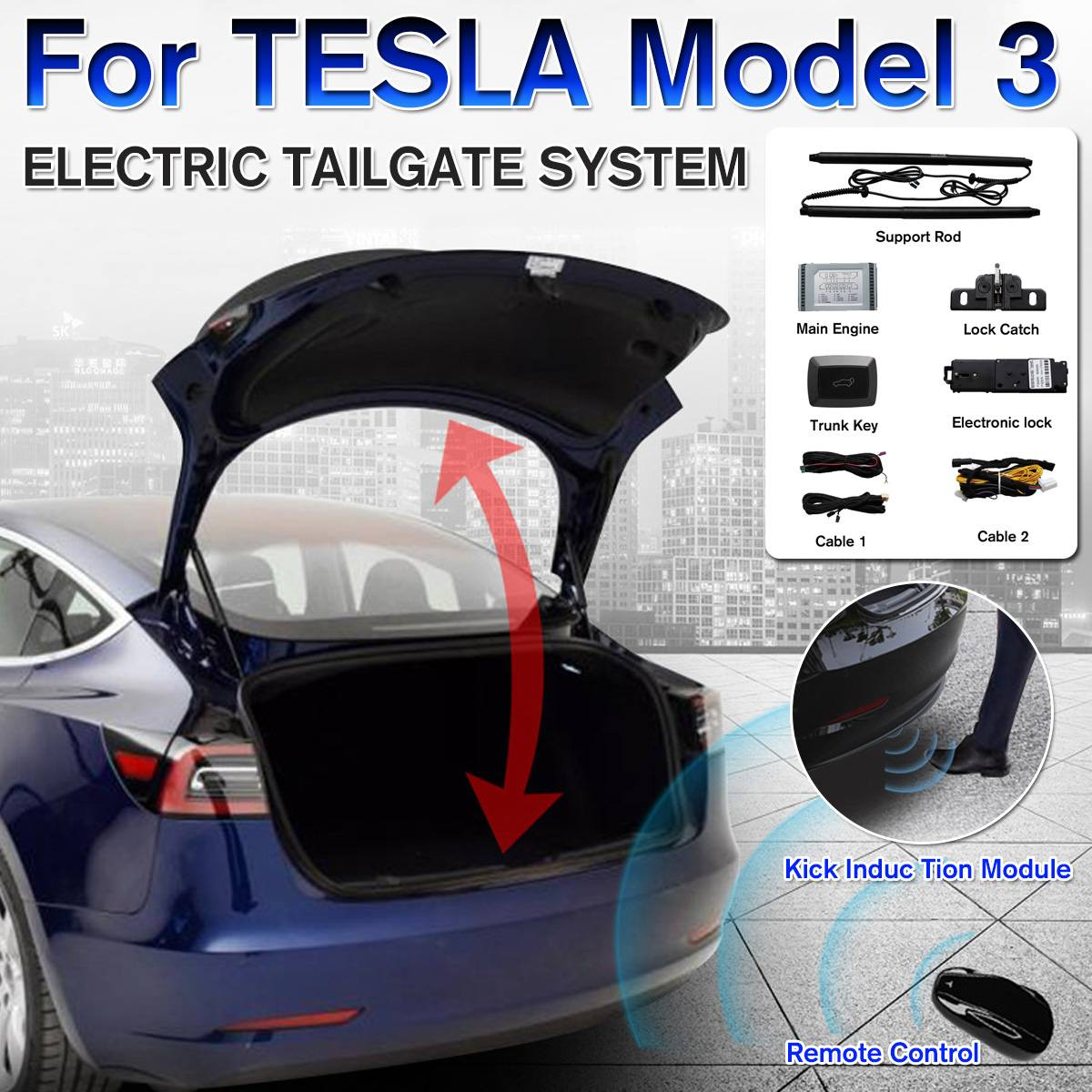 Car Electric Tail Gate Lift Tailgate System With Remote Control With Intelligent Sensing Function Of Foot Kick For TESLA Model 3