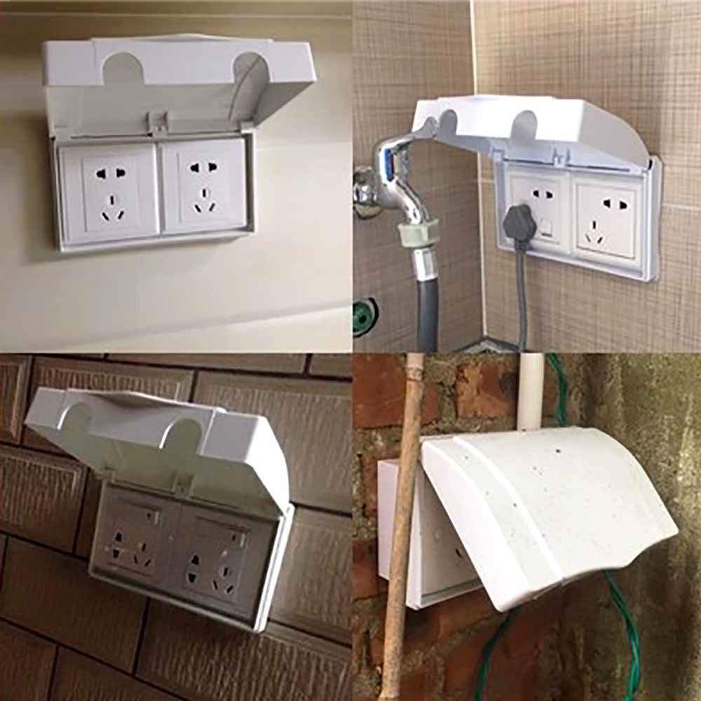 New White Double Socket Protector Electric Plug Cover Baby Child Safety Box UK Socket Protection Box Connected Waterproof Box