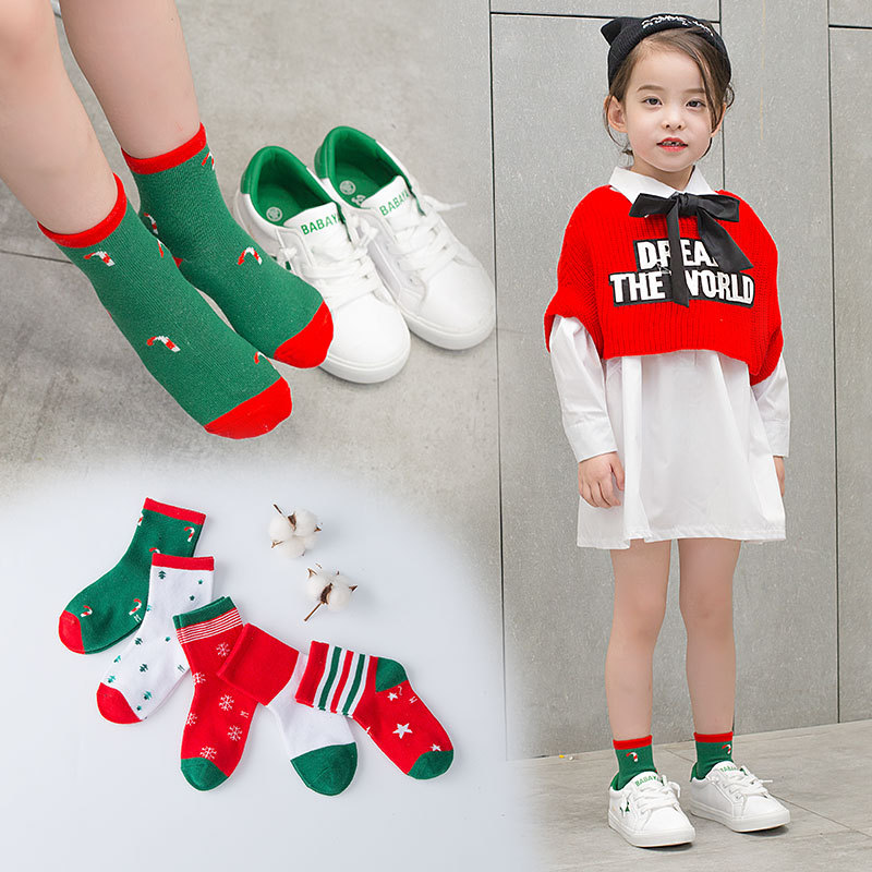 New Style Cute Christmas Children's Socks Cartoon Cotton Fashion Middle And Large Men And Women Children's Socks Baby Tube Socks