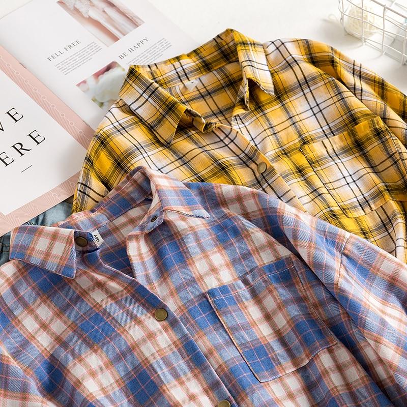 Женская винтажная Блузка в клетку, Повседневная блузка большого размера с рукавом «летучая мышь», отложным воротником и пуговицами, T04001F