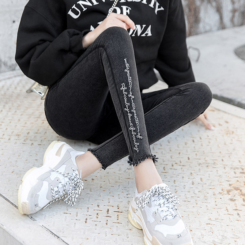 Embroidery Jeans High Elastic Boyfriend Jeans Female Washed Denim Skinny Female Printed Pencil Pants Ripped Streetwear Trousers