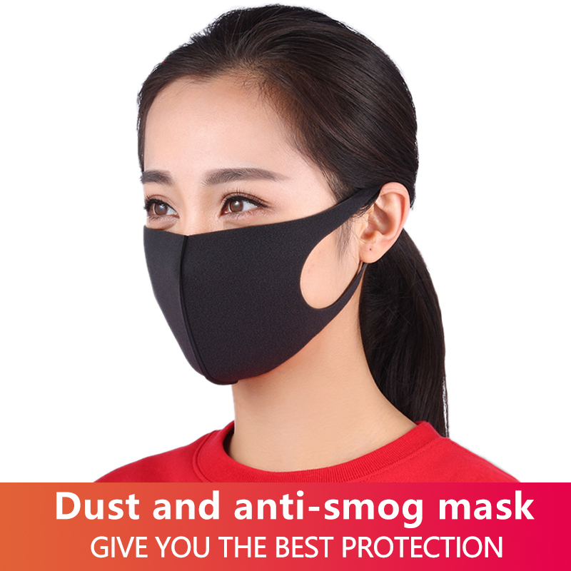 10pcs Black Mouth Mask Breathable Unisex Sponge Face Mask Reusable Anti Pollution Shield Wind Proof Mouth Health Care Kpop