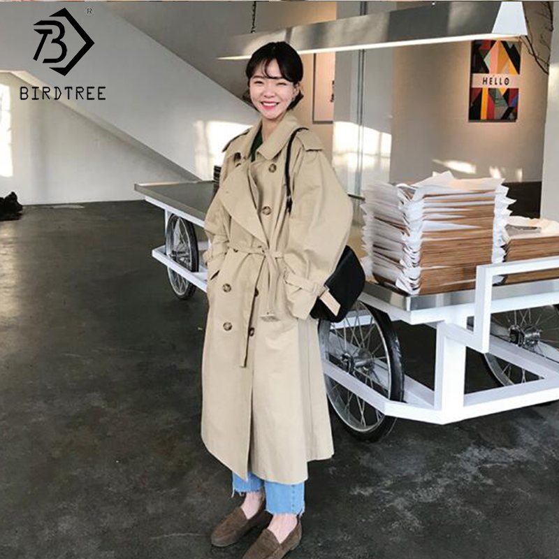 2019 Autumn New Women's Korean Style Solid   Trench   Loose Coat Double Breasted Full Sleeve Turn-down Collar Clothing C98809K