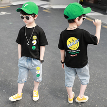 Child clothing boy Short Sleeve T Shirt+Jeans 2pc Sport Sets Summer Big boys clothes set Kids Summer Suits 2 3 4 5 6 7 8Y casual summer gentleman style kids boys clothing sets cotton sling strap costume shirt short jeans boys clothes suits