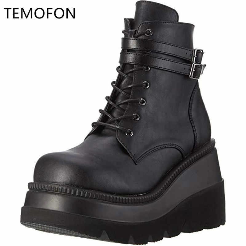 TEMOFON Nữ Nền Tảng Giày Gothic Đen Trắng Giày Nữ Phối Ren Punk Giày Mùa Thu Cao Gót Giày Người Phụ Nữ Giày HVT1399