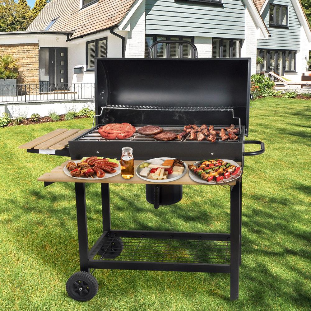 Charcoal BBQ Barbecue Grill Patio Trolley Outdoor Party Camping With Side Smoker