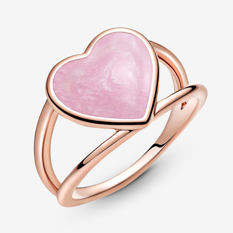 2021 NEW 925 Sterling Silver Rings Pink Swirl Heart Statement Ring Women Engagement Anniversary Original Jewelry Making Gift