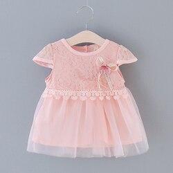 Verão bonito do bebê meninas vestido floral princesa festa tule vestidos de renda criança infantil meninas malha tutu vestido roupas 0-3y