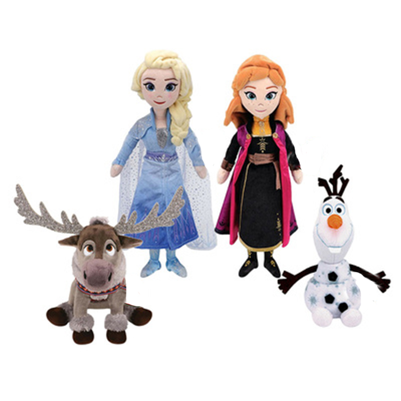 Moive Toys 40cm Elsa Anna Princess Sven Reindeer Olaf Snowman Plush Stuffed Animal Collectible Christmas Gift Unisex Plush Toys