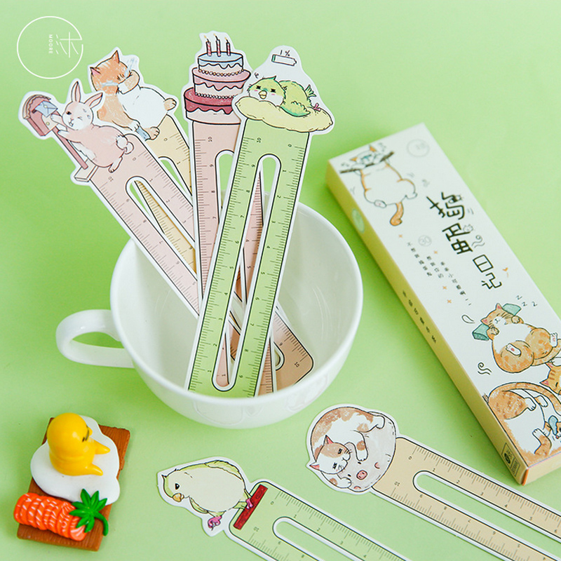 30 Pcs/box Heteromorphism Cute Animal Ruler Paper Bookmark Stationery  Book Holder Message Card School Supplies Papelaria