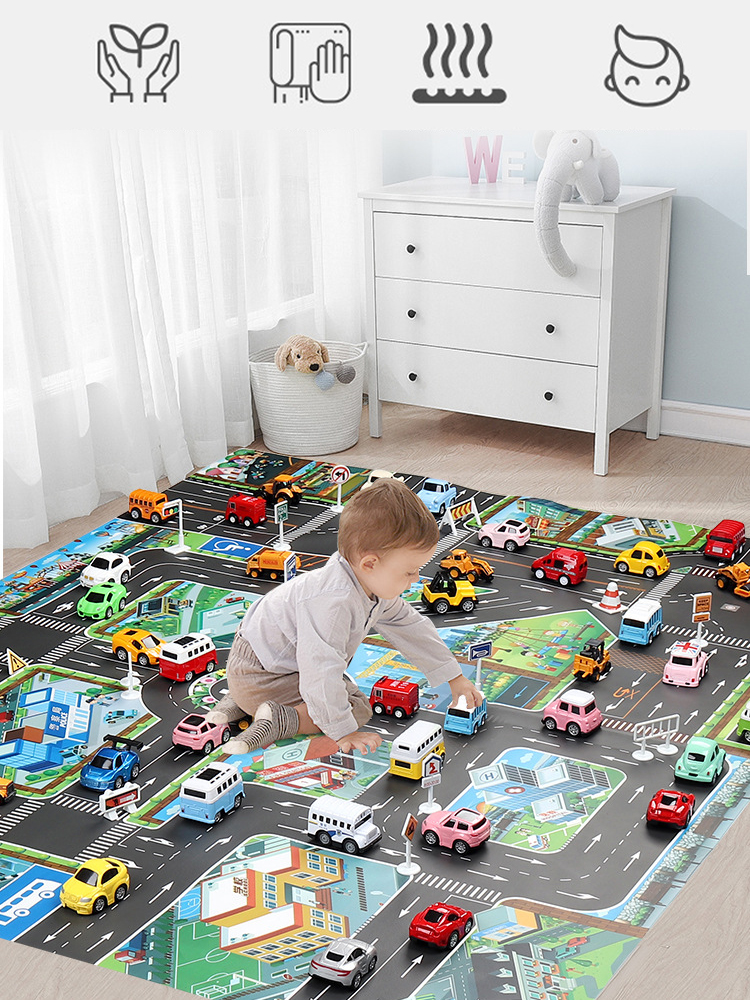 Baby Play Mat Road Carpet for Kids Cartoon Traffic Rug Little Boys and Girls Indoor Toys