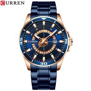 Image 2 - CURREN الفولاذ المقاوم للصدأ ساعة رجالي تصميم الأزياء كوارتز ساعة اليد مع تاريخ ساعة الذكور Reloj Hombre ساعة الرجال