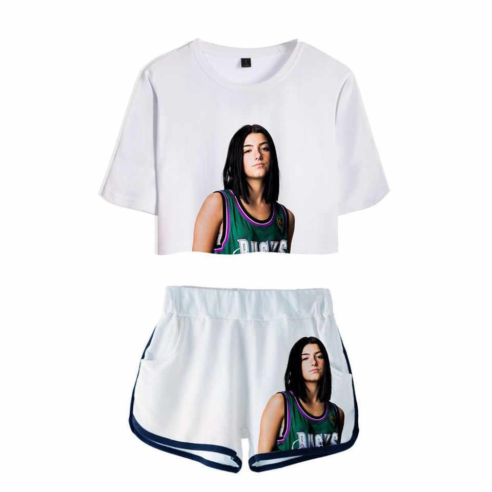 De Hype Huis 3D Pop Shorts En T-shirts Charli D'amelio Vrouwen Tweedelige Sets Cool Print Addison Rae Crop Top kleding