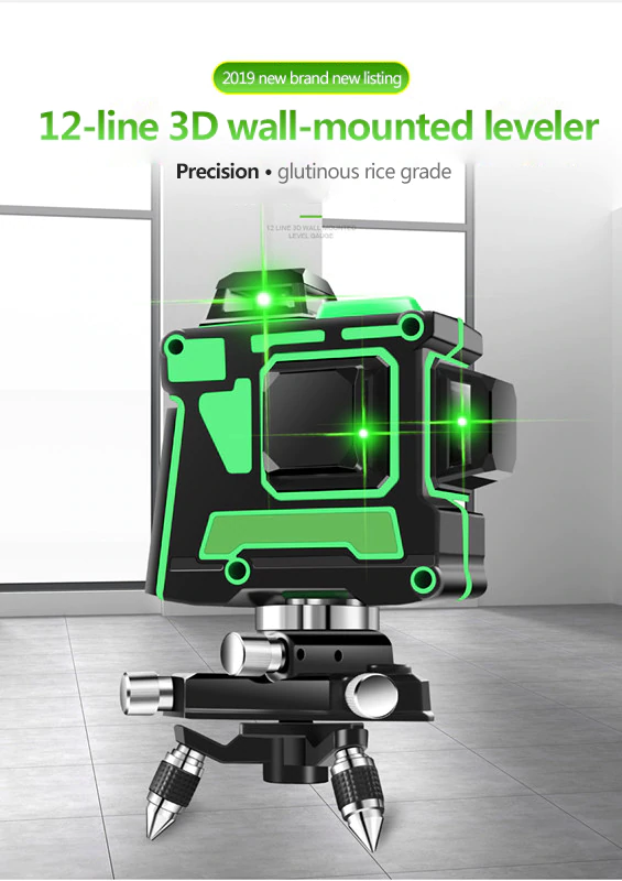 Nouveau niveau Laser vert 12 lignes niveau 3D auto-nivelant 360 croix horizontale et verticale niveau Laser vert Super puissant