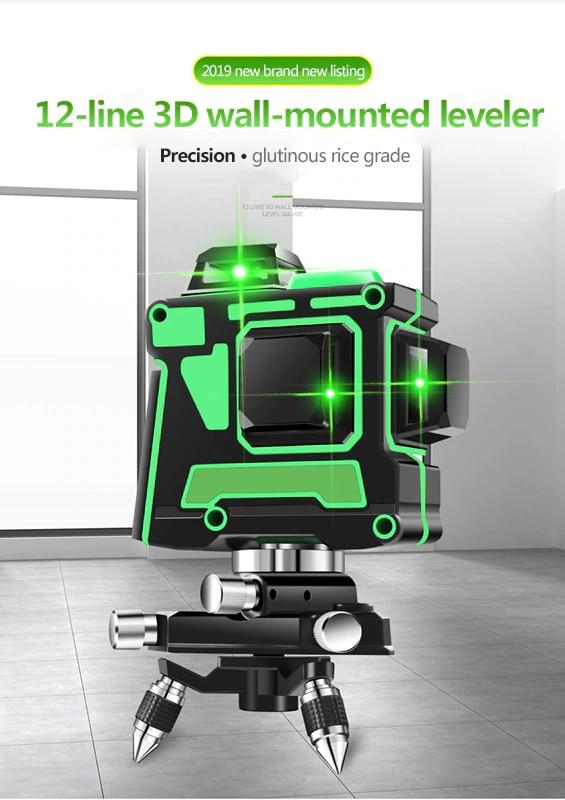Novo Nível de Auto-Nivelamento Nível Laser Verde Linhas 12 3D 360 Horizontal E Vertical Cruz Super Poderoso Laser Verde nível