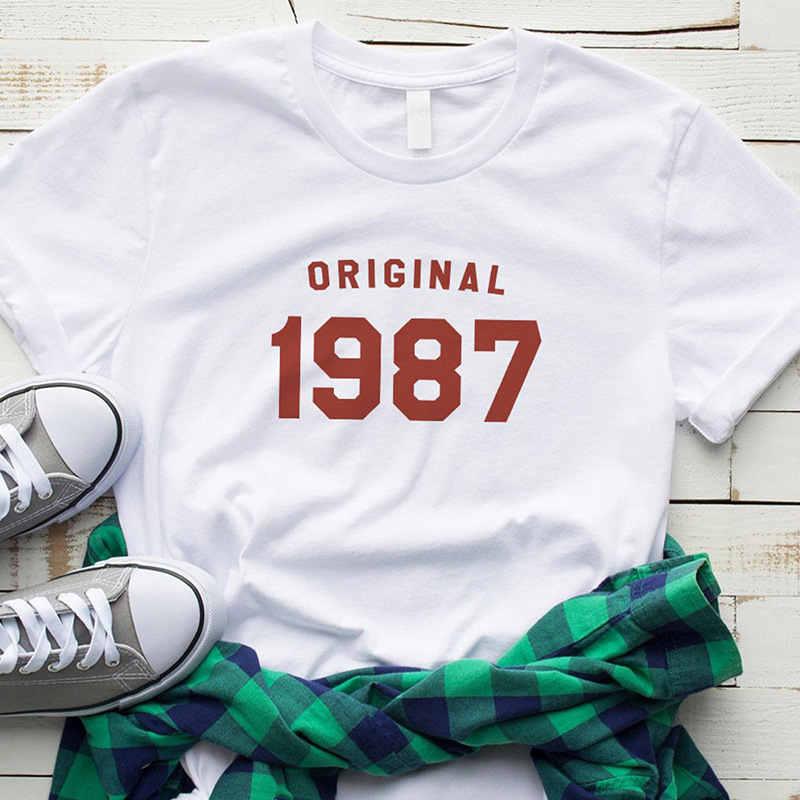 T-shirt Original 1987 Men And Women Lettered European And American Streets Short Sleeve <font><b>AliExpress</b></font> image