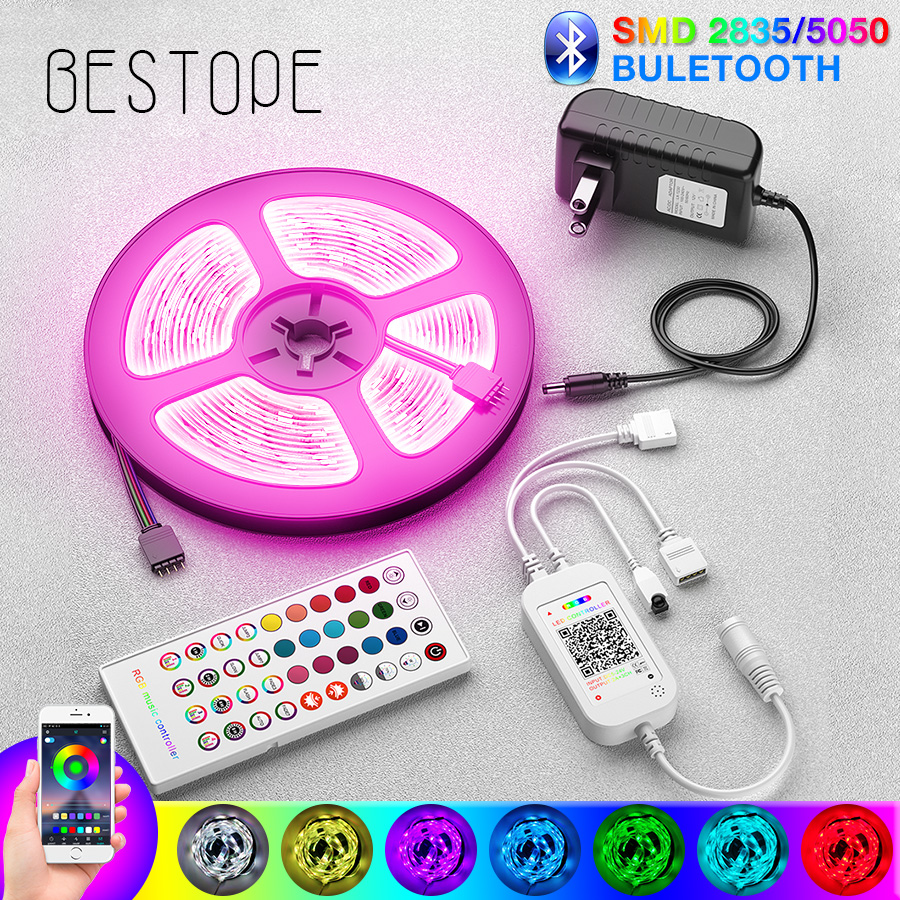 NEW Bluetooth 5050 LED Strip Light RGB SMD 2835 Flexible Ribbon Fita RGB LED Light 5M 10M 15M Tape Diode DC12V Bluetooth Control