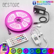 NEW Bluetooth 5050 LED Strip Light RGB SMD 2835 Flexible Ribbon fita RGB LED light 5M 10M 15M Tape Diode DC12V Bluetooth Control hml 5m smd 5050 rgb ribbon light