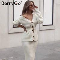 BerryGo Two piece women knitted dress set Elegant autumn winter sweater dress suits Long sleeve button sashes pure skirt suit