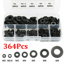 Flat-Ring Washer Repair Gasket Black for Metric M2-M8 Nylon with Box Car-Accessories
