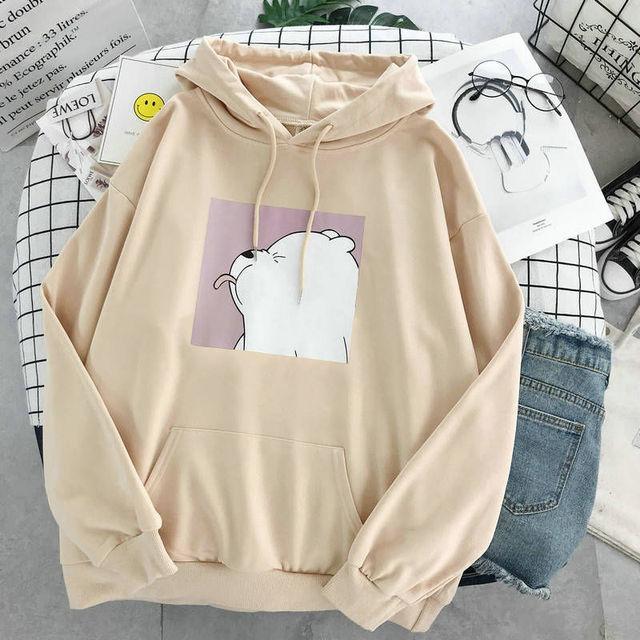Hoodies oversized print Kangaroo Pocket Sweatshirts Hooded Harajuku winter Casual Vintage Korean Pullovers Women sweatshirts 6