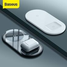 Baseus شاحن لاسلكي مزدوج بقوة 15 واط لـ iPhone 11 Pro Max X XS Max XR لوحة شحن لاسلكية مرئية لهاتف Samsung Galaxy Note 10 Plus Note 9 8 S10 S9 Charging for Airpods