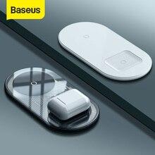 Baseus 15W Dual Wireless Charger para iPhone 11 Pro Max X XS Max XR Almohadilla de carga inalámbrica visible para Samsung Galaxy Note 10 Plus Note 9 8 S10 S9 Carga para Airpods