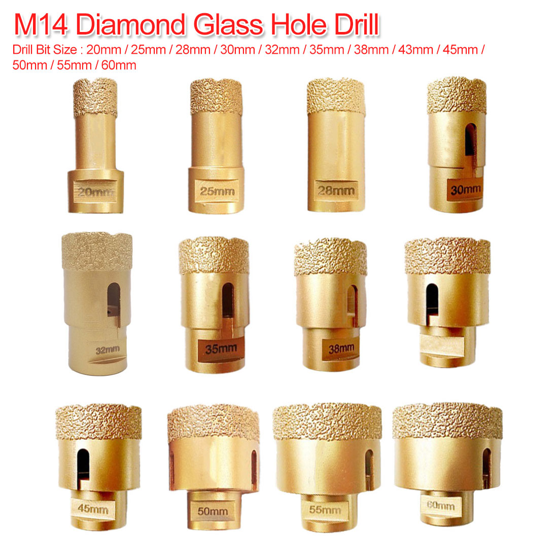20mm-60mm M14 Vacuum Brazed Diamond Drilling Core Bit Dry Diamond Drill Bit For Tile Hole Saw Stone Drill Bit Crown Drilling Bit