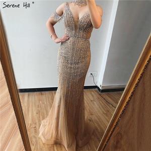 Image 2 - Sereno colina dubai cinza pérolas diamante vestido de noite 2020 mais recente design com decote em v sem mangas sexy vestido de festa formal cla70055