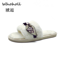 Whoholl 2019 Womens Fur Slippers Winter Shoes Big Size Home Slippers Plush Pantufa Women Indoor Warm Fluffy Terlik Cotton Shoes цены онлайн