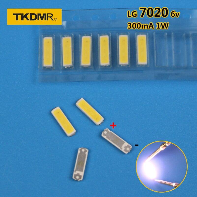 TKDMR 120PCS For LG LED LCD Backlight TV Application LED Backlight 1W 6V 7020 Cool White LED LCD TV Backlight TV Application