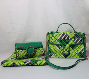 Hot Sale Green Design Wax Bag African Veritabl Wax Fabric(6Y) Matching Wax Handbag With Purse Set For Wedding/Party FB14