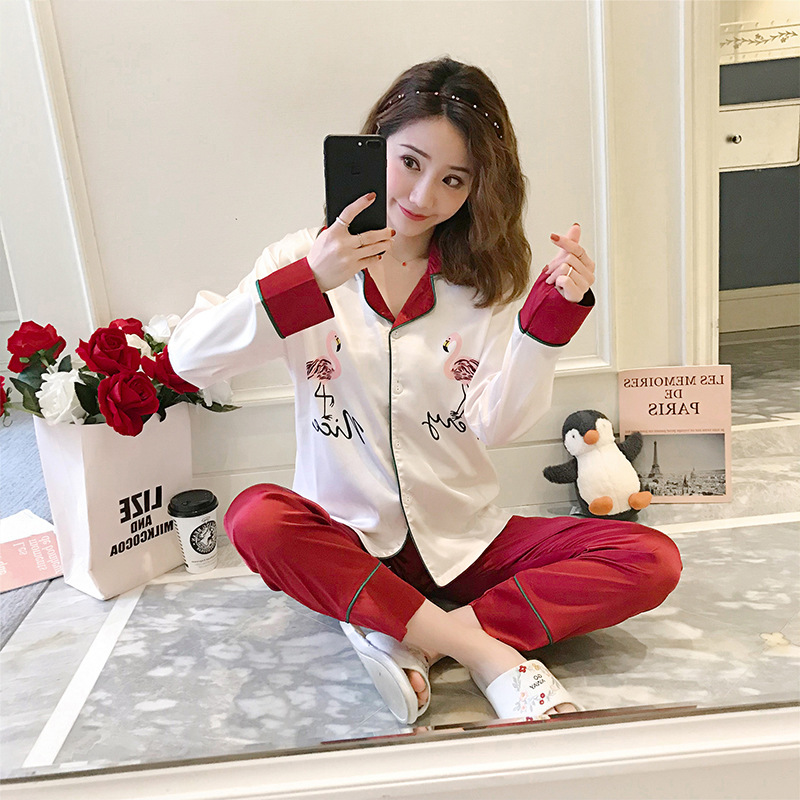 Yongxing-0810 # New Products Little Swan Autumn Cardigan Imitated Silk Fabric Printed Women's Flamingo Long Sleeve Pajamas Suit