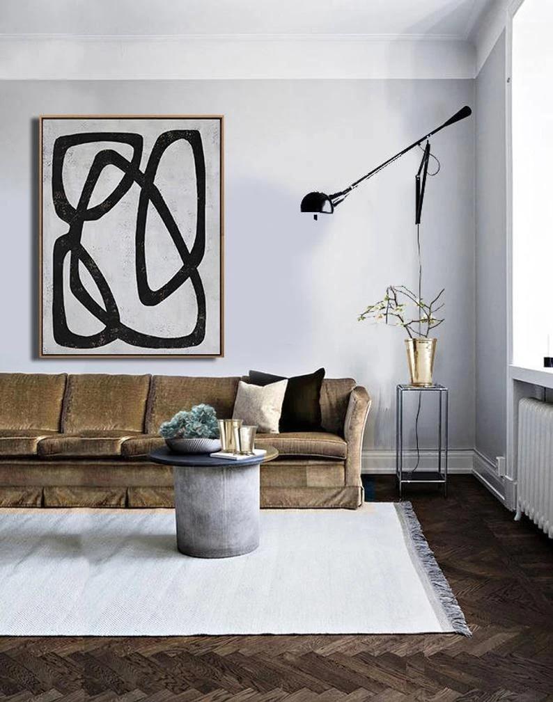 Mid Century Modern Art Living Room Art Decor Large Wall Art Black White Wall Art Canvas Painting Wall Pictures For Living Room Painting Calligraphy Aliexpress