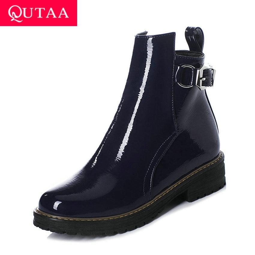 QUTAA 2020 PU de cuero de otoño invierno Plaza tacón medio de las mujeres zapatos de punta redonda hebilla de moda cremallera tobillo botas tamaño 34-43