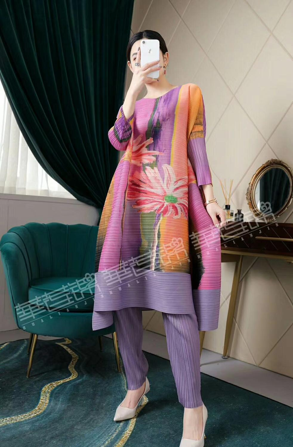 HOT SELLING Miyake round collar three quarter  fold chinese style print A-Line dress IN STOCK