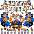 Anime Theme Birthday Party Decorations For Kids Cake Topper Happy Birthday Banner Latex Balloons Uzumaki-Narut Party Favors
