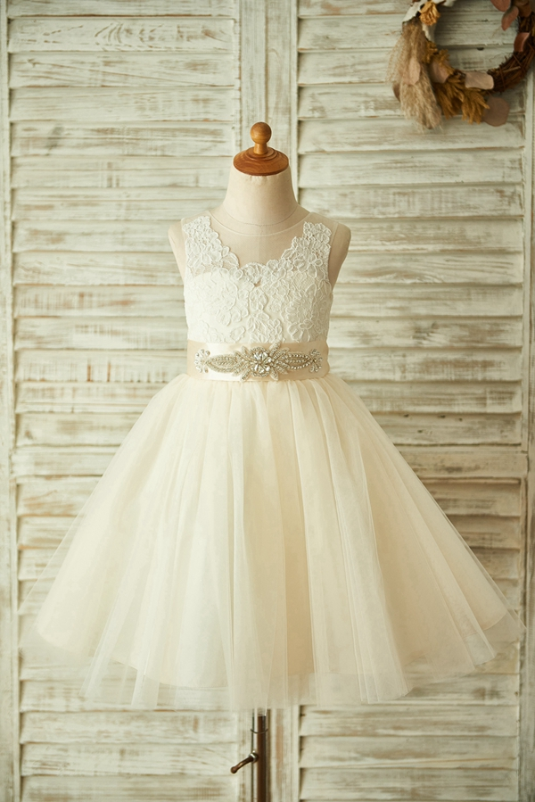 New   Flower     Girl     Dress   2020 Champagne Lace Tulle with Big Bow   Dress   Pearls Coverd Button Sleeves   Dress