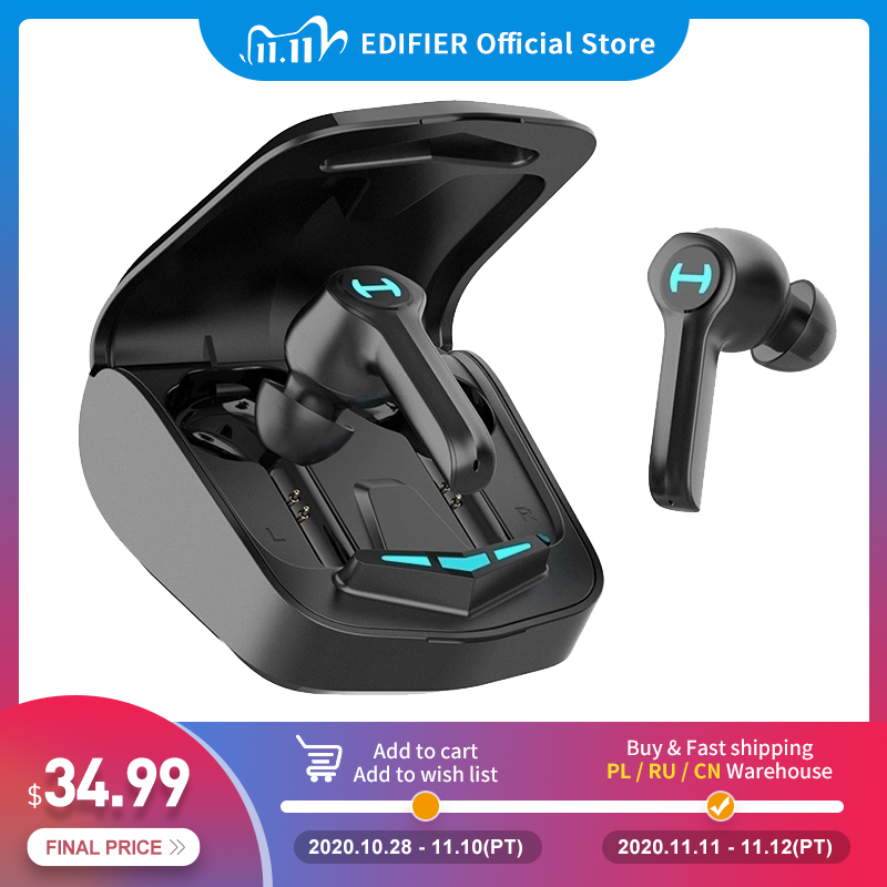EDIFIER GM4 Wireless Gaming Earphone Bluetooth 5.0 PixArt Low Latency Touch Control with Noise-cancellation Voice Assistant 1