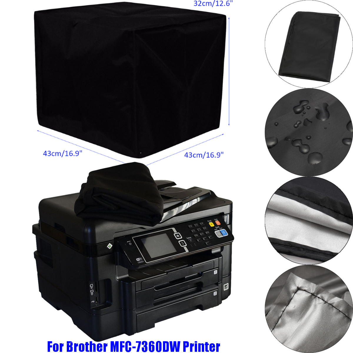 Brother MFC-J485DW PRINTER BLACK NYLON DUST COVER WATER REPELLENT !