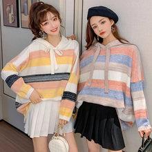 Полосатый вязаный свитер женский свободный корейский стиль 2020