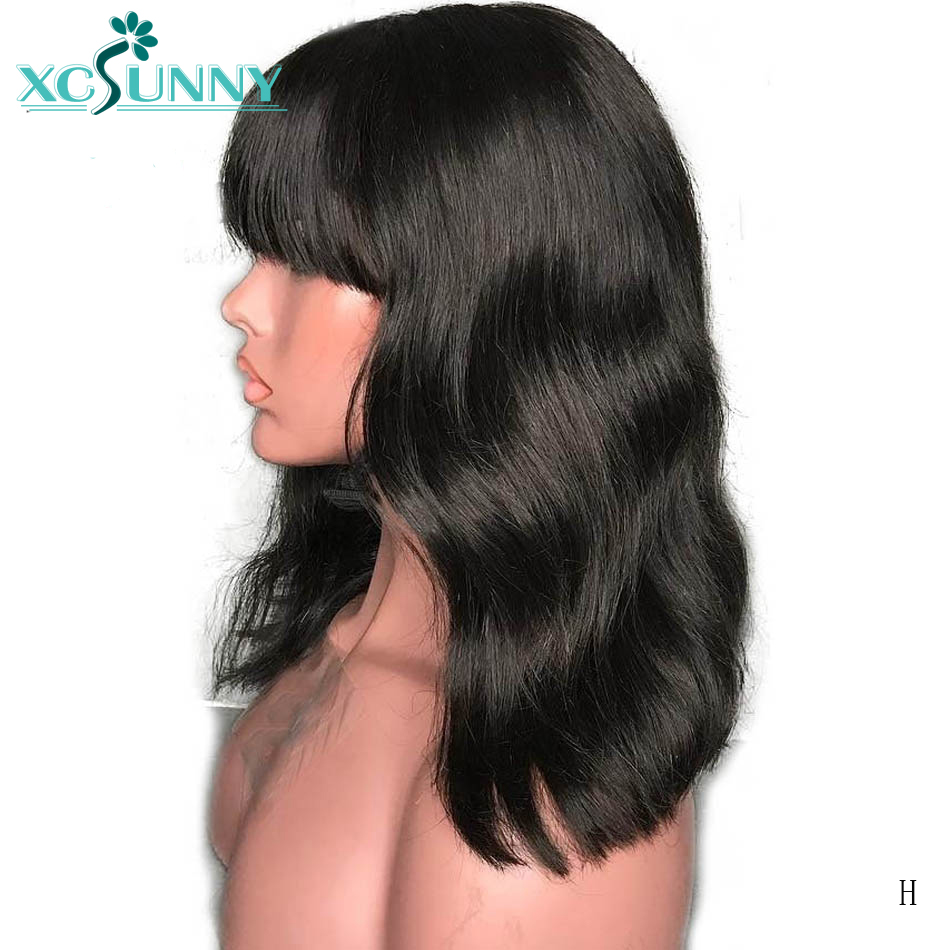 13x6 Short Bob Lace Front Human Hair Wigs With Bangs For Women Glueless Remy Indian Hair Wig Natural Wave Black Color Xcsunny