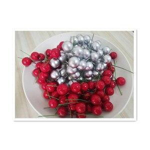 100 шт./пакет, Новогоднее украшение, искусственная пена, красный маленький шарик, фруктовый подарок, искусственные цветы, фруктовая ягода