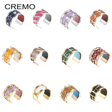Cremo New Arrival Steel Ring Argent Resizable Finger ring Bijoux homme stainless steel Reversible Leather Rings for Women