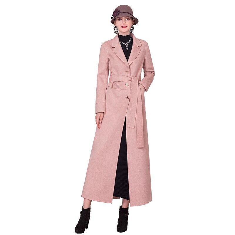 European Style Wool Coat Pink Fall Winter Turn Down Collar Long Sleeve Outwear with Belt Big Size DZ2177