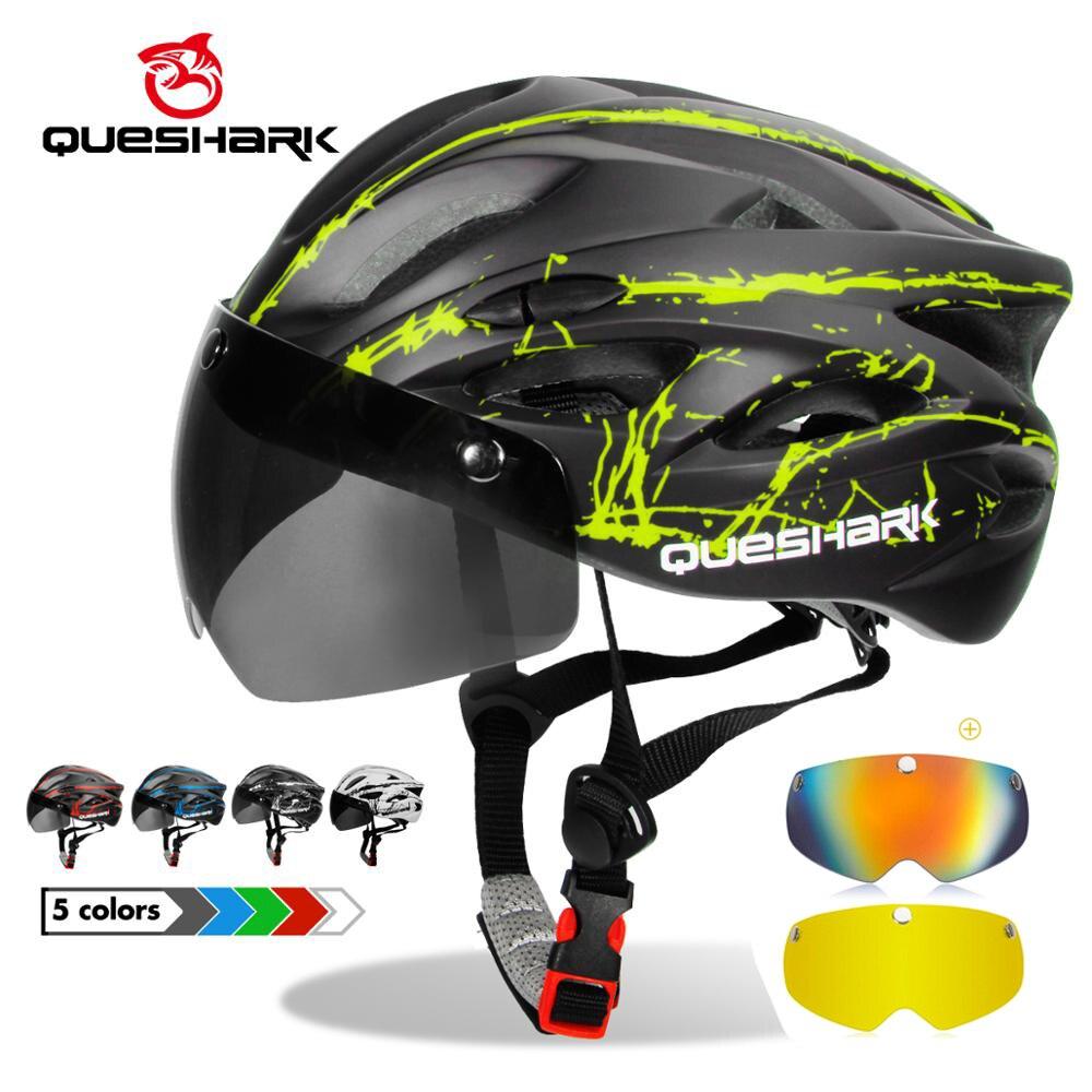 QUESHARK профессиональный Мужской Женский Мужской велосипедный шлем со съемными линзами MTB велосипедный шлем Размер S 52 см-58 см M размер 56 см-62 см...