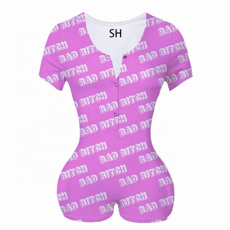 Closeout DealsSleepwear Pajamas Women Spring Sexy Print Elegant Long Sleeve Bodycon Short Jumpsuits Nightwear Pajama Drop Shipping